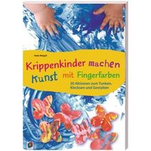 Krippenkinder machen Kunst mit Fingerfarben